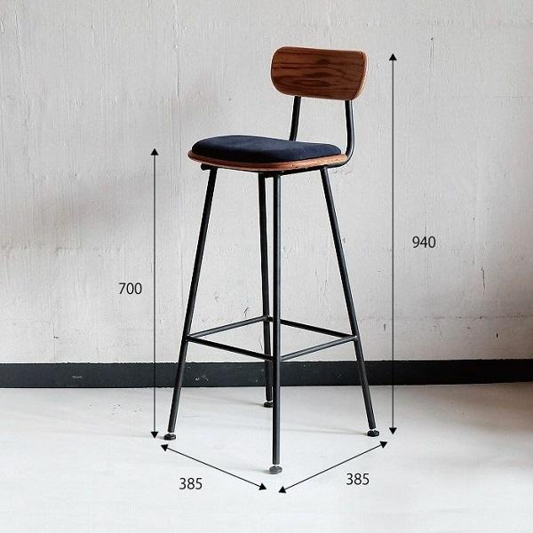 Ghế chân sắt có điểm tựa kích thước chuẩn